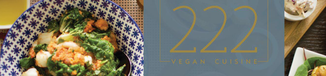 Header of 222 Vegan with vegan dish on a plate