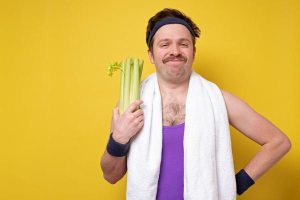 man holding veg