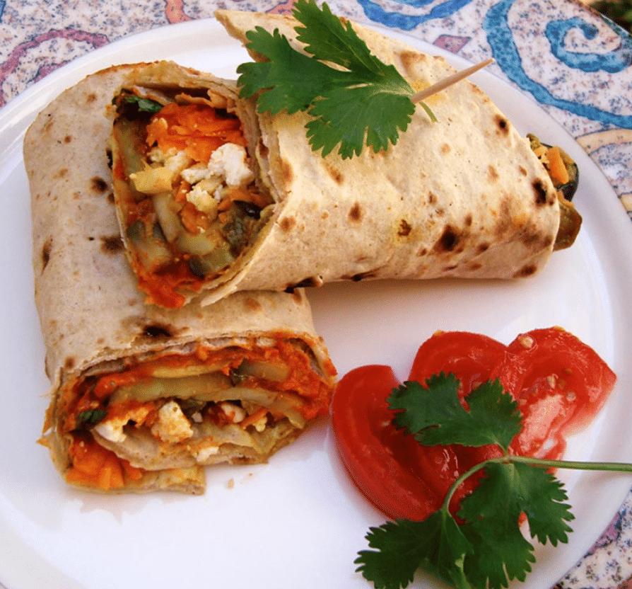 Aubergine, Roasted Pepper and Mushroom Wrap With Sun-Dried Tomato Chutney